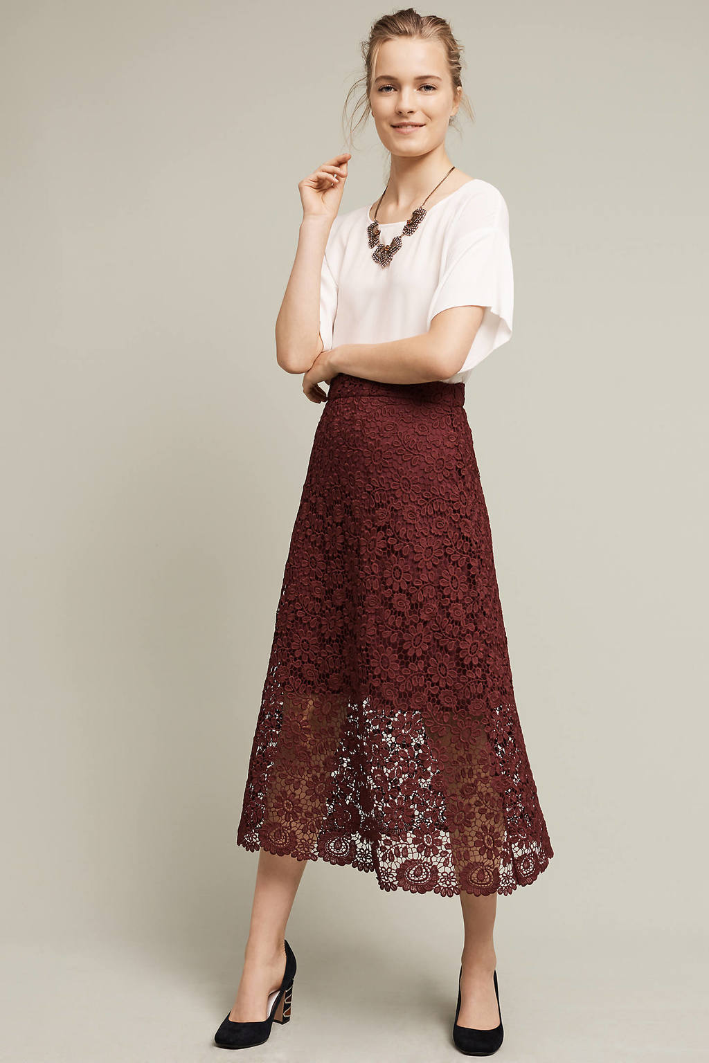 Laced Artefact Midi Skirt, Purple - length: calf length; style: full/prom skirt; fit: loose/voluminous; waist: mid/regular rise; predominant colour: burgundy; occasions: evening; fibres: polyester/polyamide - 100%; texture group: lace; pattern type: fabric; pattern: patterned/print; season: a/w 2016; wardrobe: event