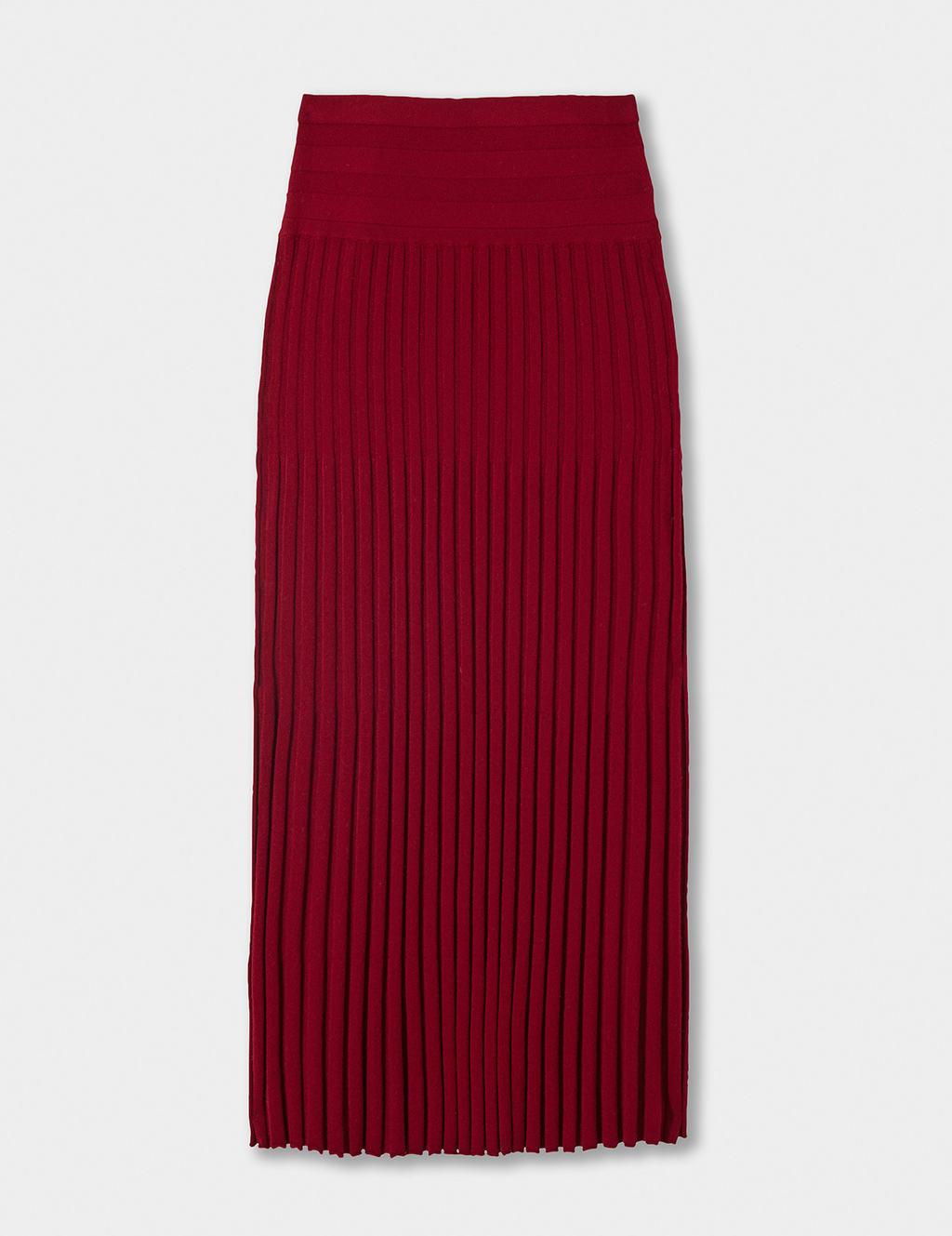 Merino Wool Pleated Skirt - length: calf length; pattern: plain; style: pleated; waist: high rise; predominant colour: true red; fibres: wool - 100%; occasions: occasion, creative work; fit: straight cut; pattern type: fabric; texture group: woven light midweight; season: a/w 2016; wardrobe: highlight