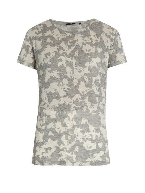 Abstract Floral Print Short Sleeved Cotton T Shirt - style: t-shirt; secondary colour: ivory/cream; predominant colour: mid grey; occasions: casual, creative work; length: standard; fibres: cotton - 100%; fit: body skimming; neckline: crew; sleeve length: short sleeve; sleeve style: standard; pattern type: fabric; pattern size: standard; pattern: patterned/print; texture group: jersey - stretchy/drapey; season: a/w 2016