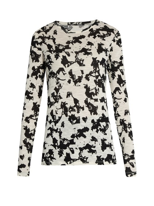 Abstract Floral Print Long Sleeved Cotton T Shirt - neckline: round neck; length: below the bottom; style: t-shirt; predominant colour: ivory/cream; secondary colour: black; occasions: casual, creative work; fibres: cotton - 100%; fit: body skimming; sleeve length: long sleeve; sleeve style: standard; pattern type: fabric; pattern size: standard; pattern: patterned/print; texture group: jersey - stretchy/drapey; season: a/w 2016; wardrobe: highlight