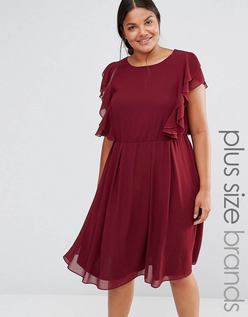 Ruffle Dress Burgundy - neckline: round neck; sleeve style: angel/waterfall; pattern: plain; predominant colour: burgundy; occasions: evening, occasion; length: on the knee; fit: fitted at waist & bust; style: fit & flare; fibres: polyester/polyamide - 100%; hip detail: subtle/flattering hip detail; sleeve length: short sleeve; texture group: sheer fabrics/chiffon/organza etc.; bust detail: bulky details at bust; pattern type: fabric; season: a/w 2016; wardrobe: event