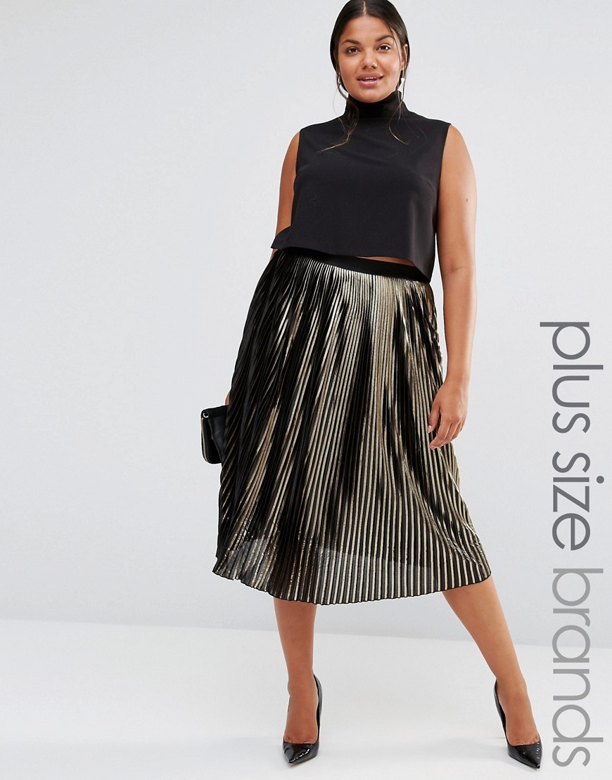 Metallic Plisse Skirt Gold - length: below the knee; fit: loose/voluminous; style: pleated; waist: high rise; predominant colour: gold; secondary colour: black; occasions: evening; fibres: polyester/polyamide - 100%; hip detail: adds bulk at the hips; waist detail: feature waist detail; texture group: sheer fabrics/chiffon/organza etc.; pattern type: fabric; pattern: colourblock; season: a/w 2016; wardrobe: event