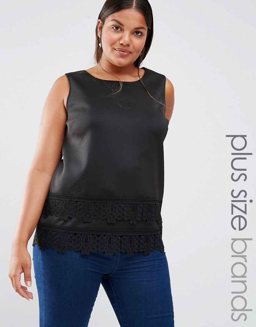 Sleeveless Lace Top Black - neckline: round neck; pattern: plain; sleeve style: sleeveless; predominant colour: black; occasions: casual, creative work; length: standard; style: top; fibres: polyester/polyamide - 100%; fit: body skimming; sleeve length: sleeveless; pattern type: fabric; texture group: other - light to midweight; embellishment: lace; season: a/w 2016; wardrobe: highlight