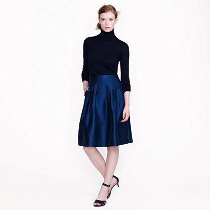 Collection Organza Skirt - pattern: plain; fit: loose/voluminous; style: pleated; waist: high rise; predominant colour: navy; occasions: evening, occasion; length: on the knee; fibres: silk - mix; hip detail: structured pleats at hip; texture group: structured shiny - satin/tafetta/silk etc.; pattern type: fabric; season: a/w 2016