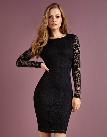 Lace Bodycon Dress - length: mini; fit: tight; style: bodycon; hip detail: draws attention to hips; predominant colour: black; occasions: evening; fibres: polyester/polyamide - 100%; neckline: crew; sleeve length: long sleeve; sleeve style: standard; texture group: lace; pattern type: fabric; pattern size: standard; pattern: patterned/print; shoulder detail: sheer at shoulder; season: a/w 2016; wardrobe: event