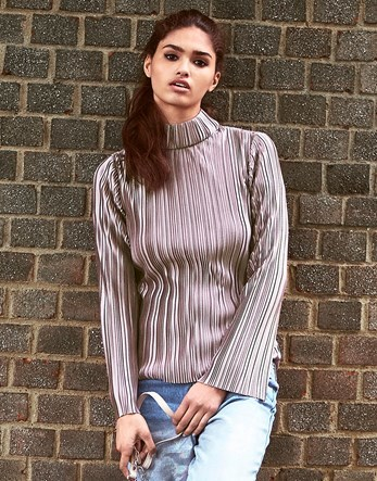 Pleated High Neck Top - neckline: high neck; pattern: striped; style: t-shirt; predominant colour: lilac; occasions: casual; length: standard; fibres: polyester/polyamide - 100%; fit: body skimming; sleeve length: long sleeve; sleeve style: standard; pattern type: fabric; texture group: jersey - stretchy/drapey; season: a/w 2016; wardrobe: highlight