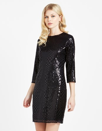 Sequin Dress - style: shift; length: mid thigh; pattern: checked/gingham; predominant colour: black; occasions: evening; fit: body skimming; fibres: polyester/polyamide - 100%; neckline: crew; sleeve length: 3/4 length; sleeve style: standard; texture group: sheer fabrics/chiffon/organza etc.; pattern type: fabric; pattern size: light/subtle; embellishment: sequins; season: a/w 2016; wardrobe: event