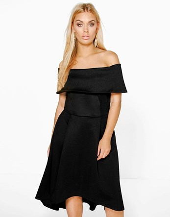Plus Double Layer Midi Dress - neckline: off the shoulder; pattern: plain; waist detail: fitted waist; predominant colour: black; occasions: evening, occasion; length: on the knee; fit: fitted at waist & bust; style: fit & flare; fibres: polyester/polyamide - 100%; hip detail: soft pleats at hip/draping at hip/flared at hip; sleeve length: short sleeve; sleeve style: standard; pattern type: fabric; texture group: other - light to midweight; season: a/w 2016