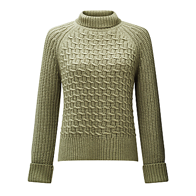 Chunky Zig Zag Knit Jumper, Sage - sleeve style: raglan; pattern: plain; neckline: roll neck; style: standard; predominant colour: khaki; occasions: casual; length: standard; fibres: acrylic - mix; fit: standard fit; sleeve length: long sleeve; texture group: knits/crochet; pattern type: knitted - fine stitch; pattern size: standard; wardrobe: basic; season: a/w 2016