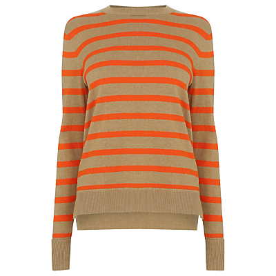 Stripe Boxy Crew Jumper, Red - pattern: horizontal stripes; style: standard; predominant colour: bright orange; occasions: casual, creative work; length: standard; fibres: cotton - mix; fit: standard fit; neckline: crew; back detail: longer hem at back than at front; sleeve length: long sleeve; sleeve style: standard; texture group: knits/crochet; pattern type: knitted - fine stitch; pattern size: big & busy (top); season: a/w 2016; wardrobe: highlight