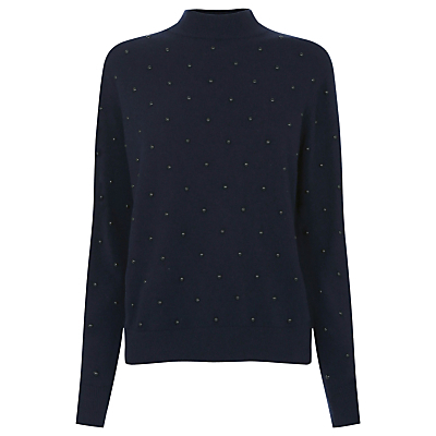 Pearlescent Jumper, Navy - pattern: plain; neckline: high neck; style: standard; predominant colour: navy; occasions: casual, creative work; length: standard; fibres: cotton - mix; fit: standard fit; sleeve length: long sleeve; sleeve style: standard; texture group: knits/crochet; pattern type: knitted - fine stitch; embellishment: pearls; season: a/w 2016; wardrobe: highlight