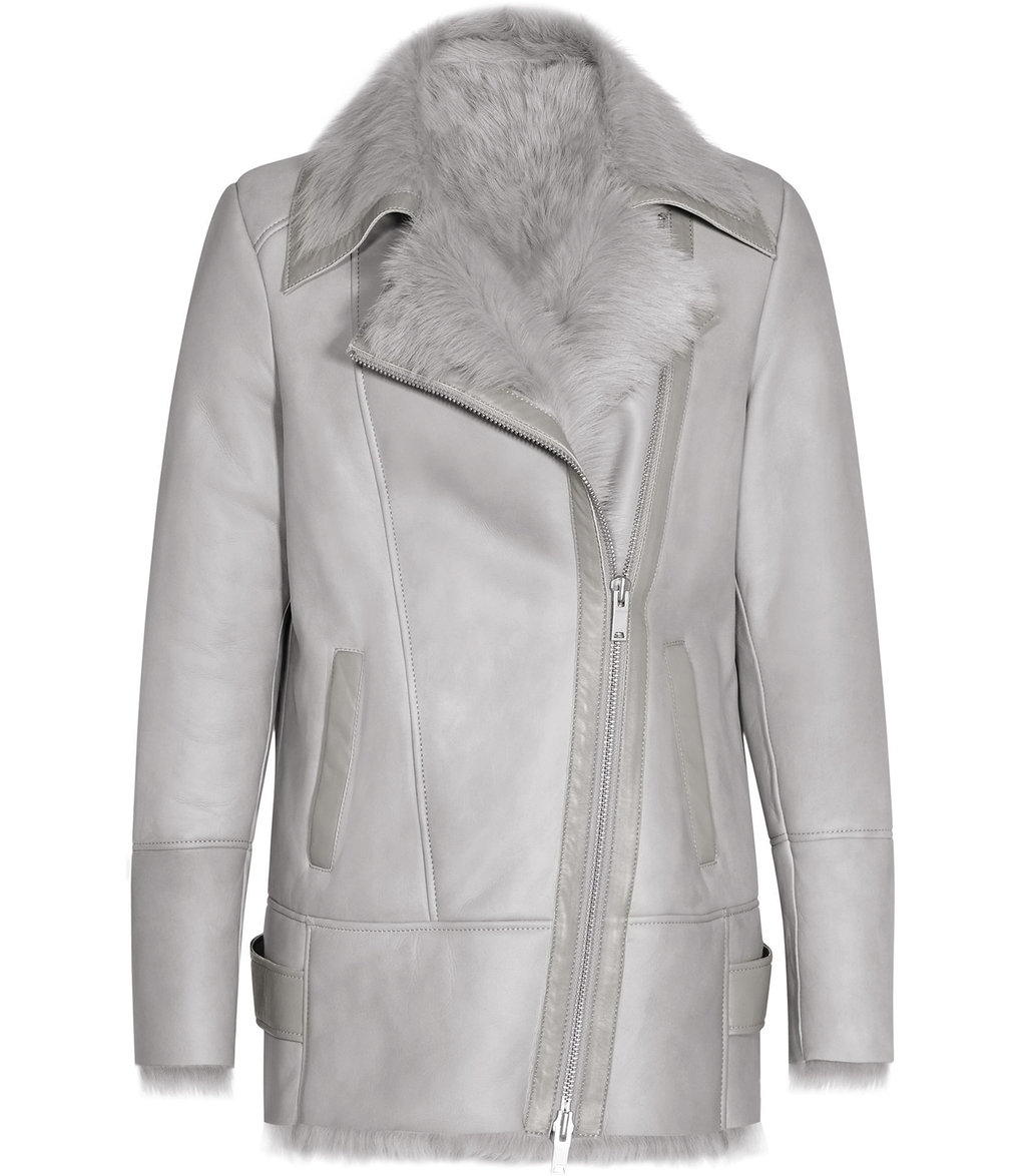 Nicole Womens Long Haired Shearling Coat In Grey - pattern: plain; length: below the bottom; collar: asymmetric biker; predominant colour: light grey; occasions: casual; fit: straight cut (boxy); fibres: sheepskin - 100%; sleeve length: long sleeve; sleeve style: standard; collar break: medium; pattern type: fabric; texture group: sheepskin; style: aviator; embellishment: fur; season: a/w 2016; wardrobe: highlight; embellishment location: neck