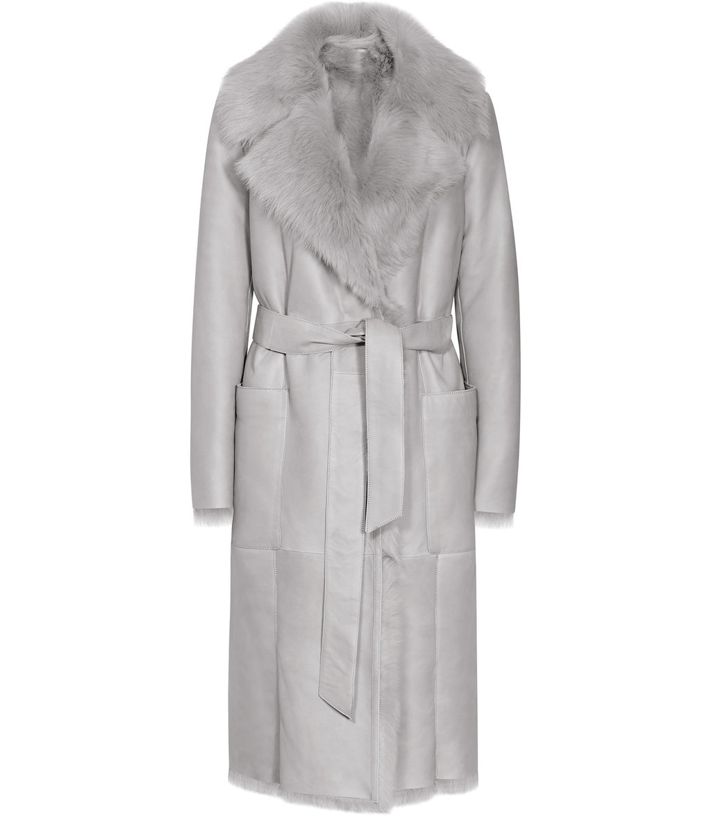 Lennox Womens Longline Shearling Coat In Grey - pattern: plain; style: wrap around; fit: slim fit; length: calf length; predominant colour: light grey; occasions: casual; fibres: sheepskin - 100%; waist detail: belted waist/tie at waist/drawstring; sleeve length: 3/4 length; sleeve style: standard; collar: fur; collar break: medium; pattern type: fabric; texture group: woven bulky/heavy; season: a/w 2016