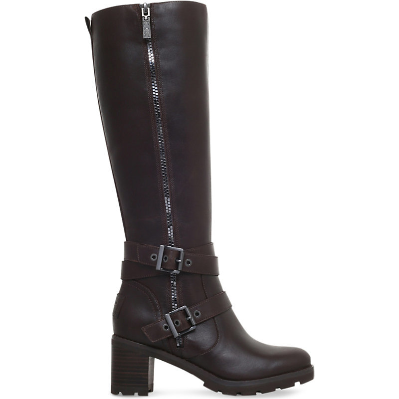 Lana Heeled Leather Boots, Women's, Eur 38 / 5 Uk Women, Dark Brown - predominant colour: chocolate brown; occasions: casual, creative work; material: leather; heel height: high; embellishment: buckles; heel: block; toe: round toe; boot length: knee; style: standard; finish: plain; pattern: plain; shoe detail: platform with tread; wardrobe: investment; season: a/w 2016