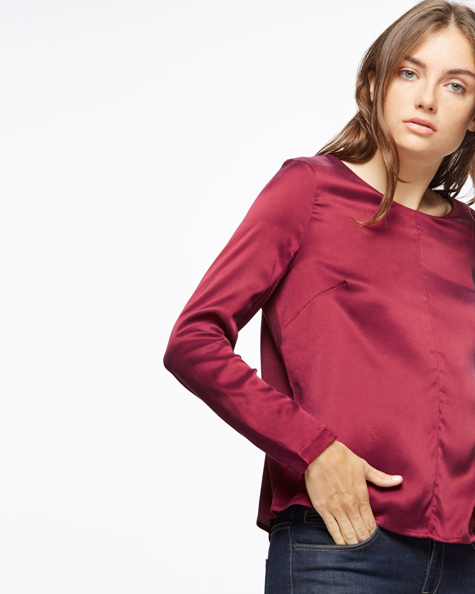 Satin Front Long Sleeve Top - pattern: plain; predominant colour: magenta; occasions: casual, creative work; length: standard; style: top; fit: body skimming; neckline: crew; sleeve length: long sleeve; sleeve style: standard; pattern type: fabric; texture group: other - light to midweight; fibres: viscose/rayon - mix; season: a/w 2016