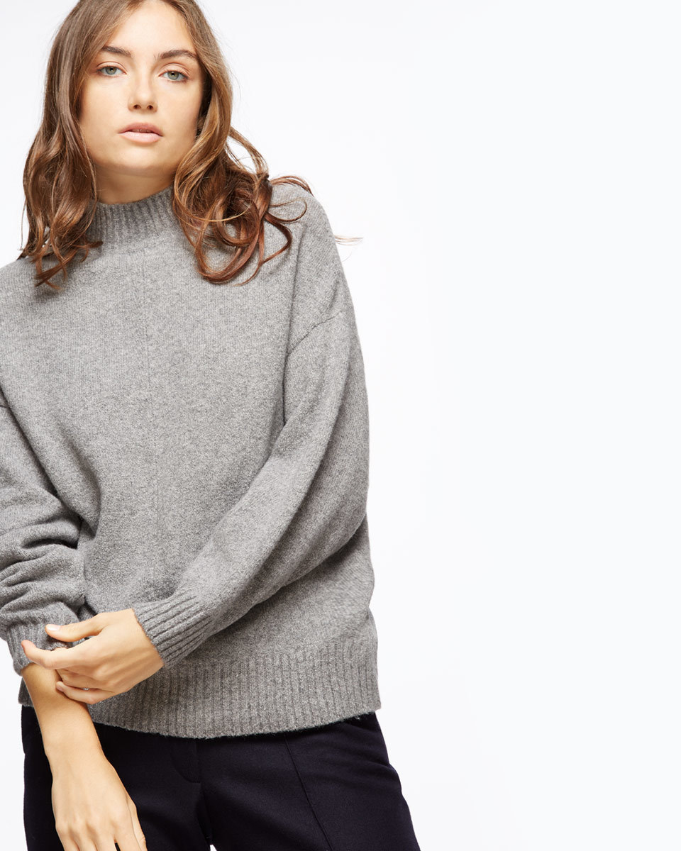 Sculpted Jumper - sleeve style: dolman/batwing; pattern: plain; neckline: high neck; style: standard; predominant colour: mid grey; occasions: casual, work, creative work; length: standard; fibres: wool - mix; fit: standard fit; sleeve length: long sleeve; texture group: knits/crochet; pattern type: knitted - fine stitch; season: a/w 2016