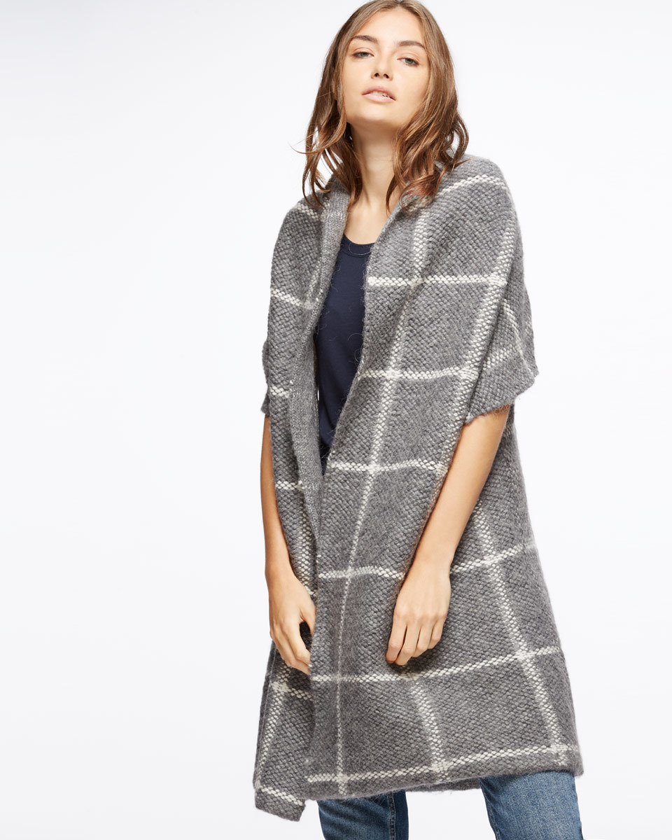 Blanket Weave Knit Coatigan - sleeve style: sleeveless; pattern: checked/gingham; collar: round collar/collarless; fit: loose; secondary colour: white; predominant colour: light grey; occasions: casual, creative work; fibres: wool - mix; length: mid thigh; sleeve length: half sleeve; collar break: low/open; pattern type: fabric; pattern size: light/subtle; texture group: woven light midweight; style: fluid/kimono; season: a/w 2016; wardrobe: highlight