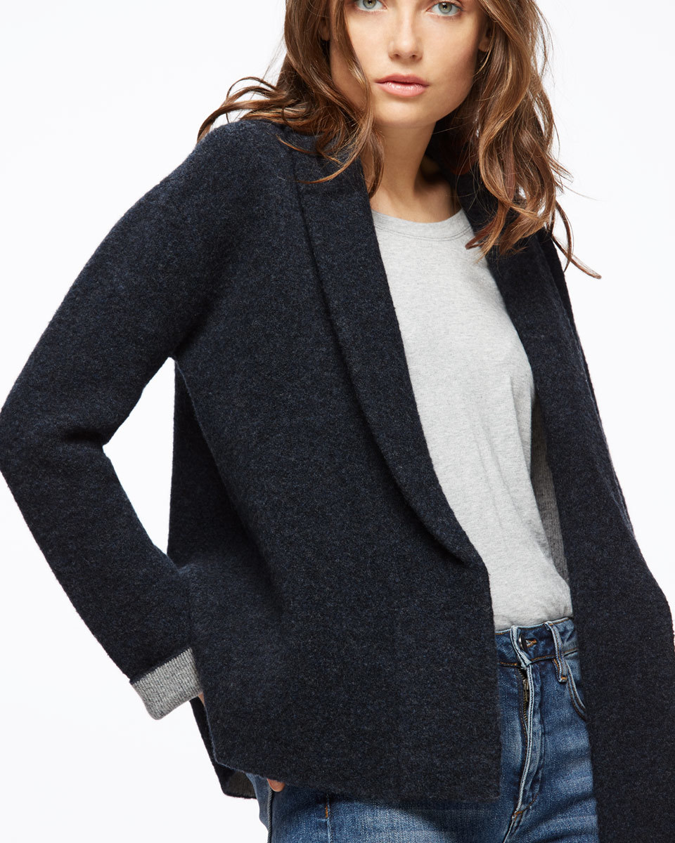Boucle Cardigan - pattern: plain; neckline: shawl; style: open front; predominant colour: navy; occasions: casual; length: standard; fibres: wool - mix; fit: loose; sleeve length: long sleeve; sleeve style: standard; texture group: knits/crochet; pattern type: knitted - other; wardrobe: basic; season: a/w 2016