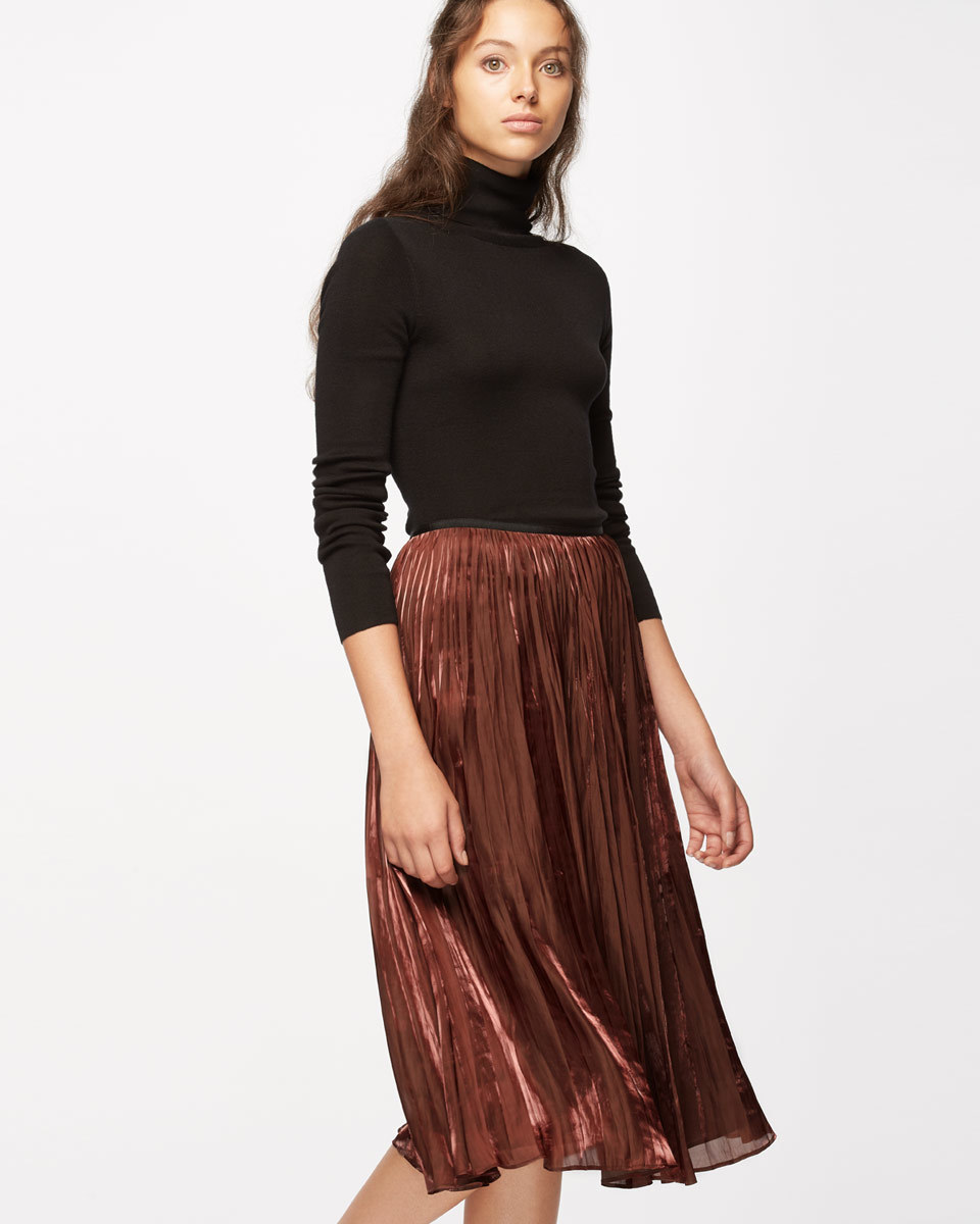 Pleated Iridescent Midi Skirt - length: below the knee; pattern: plain; fit: loose/voluminous; style: pleated; waist: high rise; predominant colour: bronze; occasions: evening, creative work; fibres: polyester/polyamide - 100%; hip detail: structured pleats at hip; waist detail: narrow waistband; texture group: silky - light; pattern type: fabric; season: a/w 2016; wardrobe: highlight