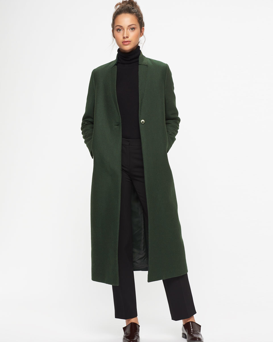 Claudel Column Long Coat - pattern: plain; fit: loose; style: trench coat; collar: standard lapel/rever collar; length: calf length; predominant colour: dark green; occasions: casual; fibres: wool - mix; sleeve length: long sleeve; sleeve style: standard; collar break: medium; pattern type: fabric; texture group: woven bulky/heavy; season: a/w 2016; wardrobe: highlight