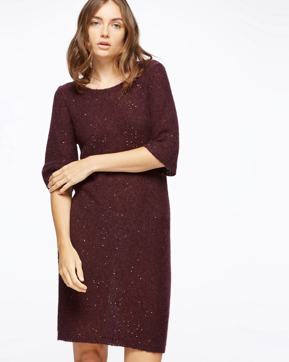 Sparkle Half Sleeve Knit Dress - style: shift; neckline: round neck; pattern: plain; predominant colour: burgundy; occasions: evening; length: just above the knee; fit: body skimming; fibres: polyester/polyamide - mix; sleeve length: half sleeve; sleeve style: standard; texture group: knits/crochet; pattern type: knitted - other; pattern size: standard; season: a/w 2016; wardrobe: event