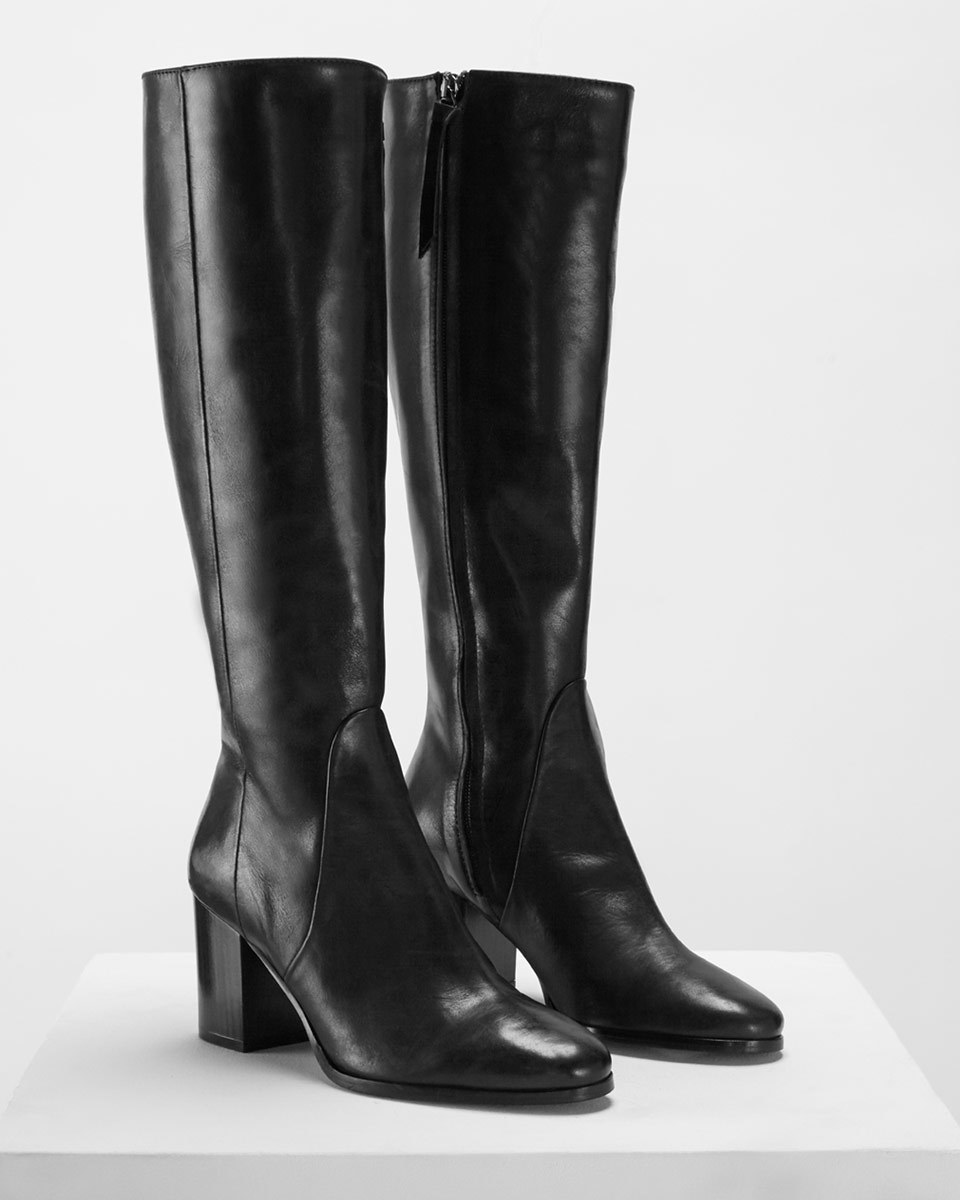 Tyler Knee High Smart Boot - predominant colour: black; occasions: casual, work, creative work; material: leather; heel height: high; heel: block; toe: round toe; boot length: knee; style: standard; finish: plain; pattern: plain; wardrobe: investment; season: a/w 2016