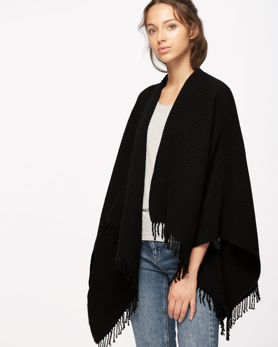 Pleated Fringe Wrap - predominant colour: black; occasions: casual, creative work; type of pattern: standard; style: wrap; size: large; material: knits; embellishment: fringing; pattern: plain; wardrobe: basic; season: a/w 2016