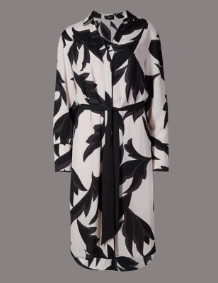 Graphic Floral Print Shirt Dress - style: shirt; fit: fitted at waist; waist detail: belted waist/tie at waist/drawstring; predominant colour: ivory/cream; secondary colour: black; occasions: casual, creative work; length: on the knee; neckline: collarstand; fibres: polyester/polyamide - 100%; sleeve length: long sleeve; sleeve style: standard; texture group: crepes; pattern type: fabric; pattern size: big & busy; pattern: florals; season: a/w 2016; wardrobe: highlight