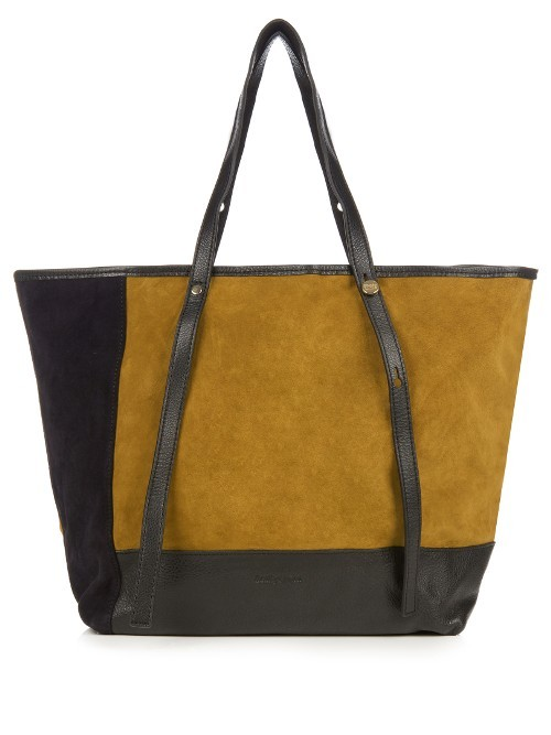 Andy Colour Block Suede Tote - predominant colour: mustard; secondary colour: black; occasions: casual, creative work; type of pattern: standard; style: tote; length: shoulder (tucks under arm); size: standard; material: suede; finish: plain; pattern: colourblock; season: a/w 2016; wardrobe: highlight