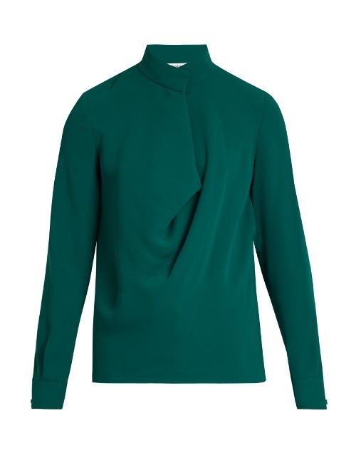 Darby Drape Front Crepe Blouse - pattern: plain; neckline: high neck; length: below the bottom; style: blouse; predominant colour: emerald green; occasions: work, creative work; fibres: polyester/polyamide - 100%; fit: straight cut; sleeve length: long sleeve; sleeve style: standard; texture group: crepes; pattern type: fabric; season: a/w 2016; wardrobe: highlight
