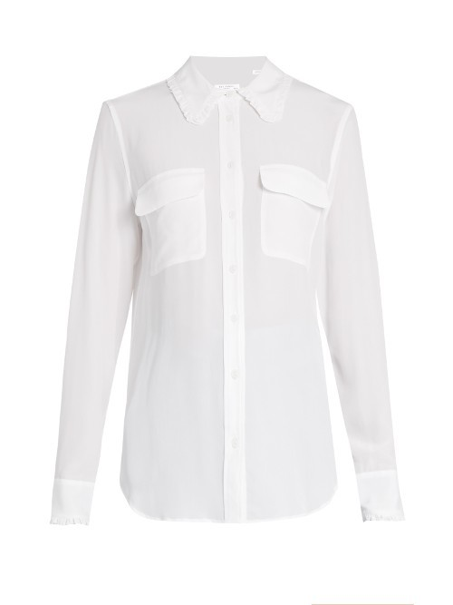Signature Ruffle Trimmed Silk Shirt - neckline: shirt collar/peter pan/zip with opening; pattern: plain; style: shirt; predominant colour: white; occasions: work, creative work; length: standard; fibres: silk - 100%; fit: body skimming; sleeve length: long sleeve; sleeve style: standard; texture group: silky - light; bust detail: bulky details at bust; pattern type: fabric; season: a/w 2016; wardrobe: highlight