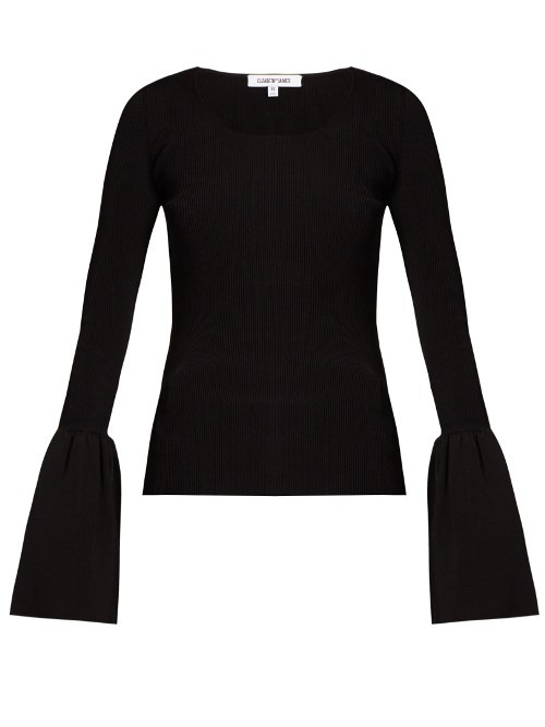Willow Bell Cuff Ribbed Knit Top - neckline: round neck; sleeve style: bell sleeve; predominant colour: black; occasions: casual, creative work; length: standard; style: top; fibres: viscose/rayon - stretch; fit: body skimming; hip detail: ruching/gathering at hip; sleeve length: long sleeve; pattern type: fabric; pattern size: standard; pattern: patterned/print; texture group: jersey - stretchy/drapey; season: a/w 2016; trends: statement sleeves