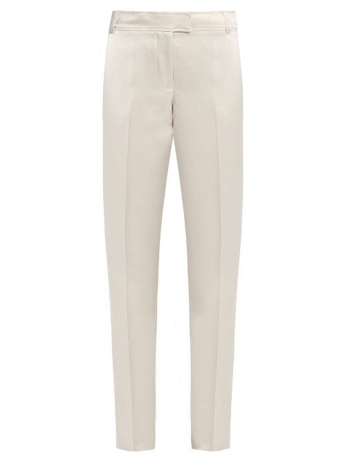Wallace Slim Leg Duchess Satin Trousers - length: standard; pattern: plain; waist: mid/regular rise; predominant colour: ivory/cream; fibres: polyester/polyamide - 100%; texture group: structured shiny - satin/tafetta/silk etc.; fit: straight leg; pattern type: fabric; style: standard; occasions: creative work; pattern size: standard (bottom); wardrobe: basic; season: a/w 2016