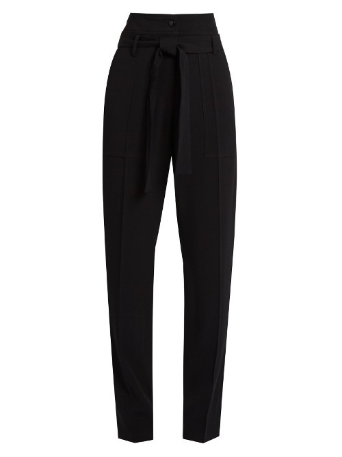 Espagny High Rise Tapered Leg Crepe Trousers - length: standard; pattern: plain; waist: high rise; predominant colour: black; occasions: work, creative work; fibres: viscose/rayon - 100%; texture group: crepes; fit: tapered; pattern type: fabric; style: standard; pattern size: standard (bottom); wardrobe: basic; season: a/w 2016