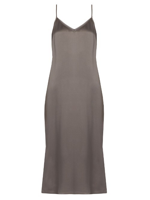 Anika Silk Satin Slip Dress - length: below the knee; neckline: v-neck; sleeve style: spaghetti straps; pattern: plain; back detail: low cut/open back; predominant colour: charcoal; occasions: evening; fit: straight cut; style: slip dress; fibres: silk - 100%; sleeve length: sleeveless; texture group: silky - light; pattern type: fabric; season: a/w 2016; wardrobe: event