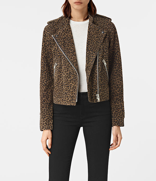 Leopard Harnett Suede Biker Jacket - style: biker; collar: asymmetric biker; fit: slim fit; predominant colour: camel; secondary colour: black; occasions: casual; length: standard; fibres: leather - 100%; sleeve length: long sleeve; sleeve style: standard; collar break: medium; pattern type: fabric; pattern: animal print; texture group: suede; multicoloured: multicoloured; season: a/w 2016; wardrobe: highlight; trends: opulent prints