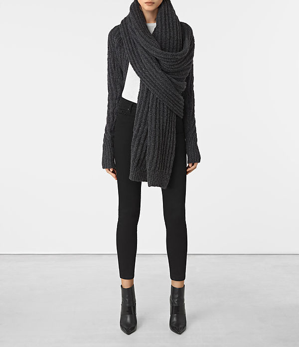 Popcorn Wrap Cardigan - pattern: plain; neckline: shawl; style: wrap; length: below the bottom; predominant colour: charcoal; occasions: casual; fibres: wool - mix; fit: loose; sleeve length: long sleeve; sleeve style: standard; texture group: knits/crochet; pattern type: knitted - fine stitch; season: a/w 2016