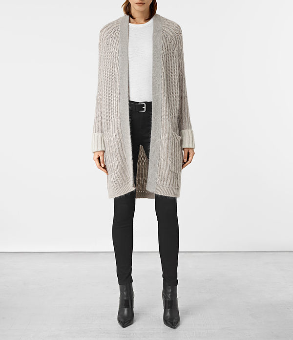 Egler Long Cardigan - pattern: plain; neckline: collarless open; style: open front; length: on the knee; predominant colour: light grey; occasions: casual; fibres: cotton - mix; fit: loose; sleeve length: long sleeve; sleeve style: standard; texture group: knits/crochet; pattern type: knitted - other; wardrobe: basic; season: a/w 2016
