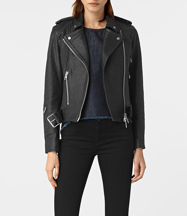 Stayte Leather Biker Jacket - pattern: plain; style: biker; collar: asymmetric biker; fit: slim fit; predominant colour: black; occasions: casual; length: standard; fibres: leather - 100%; sleeve length: long sleeve; sleeve style: standard; texture group: leather; collar break: medium; pattern type: fabric; wardrobe: basic; season: a/w 2016