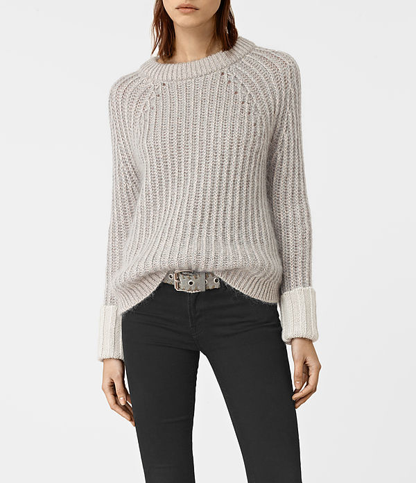 Egler Jumper - neckline: round neck; pattern: plain; style: standard; predominant colour: stone; occasions: casual, creative work; length: standard; fibres: cotton - mix; fit: loose; sleeve length: long sleeve; sleeve style: standard; texture group: knits/crochet; pattern type: knitted - other; wardrobe: basic; season: a/w 2016