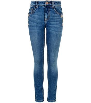 Girls Blue Embroirdered Skinny Jeans - style: skinny leg; length: standard; pattern: plain; pocket detail: traditional 5 pocket; waist: mid/regular rise; predominant colour: navy; occasions: casual; fibres: cotton - stretch; jeans detail: whiskering, rips; texture group: denim; pattern type: fabric; wardrobe: basic; season: a/w 2016
