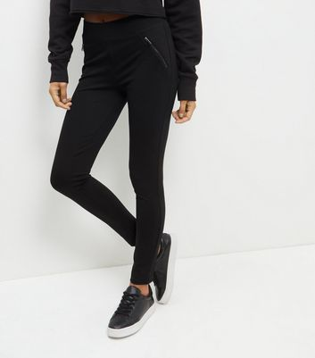 Black Zip Front Leggings - length: standard; pattern: plain; style: leggings; waist: high rise; predominant colour: black; occasions: casual; fibres: viscose/rayon - stretch; texture group: jersey - clingy; fit: skinny/tight leg; pattern type: fabric; season: a/w 2016