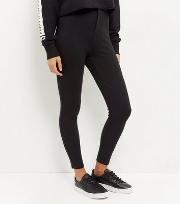 Black High Waisted Leggings - length: standard; pattern: plain; style: leggings; waist: high rise; predominant colour: black; occasions: casual; fibres: polyester/polyamide - 100%; texture group: jersey - clingy; fit: skinny/tight leg; pattern type: fabric; wardrobe: basic; season: a/w 2016