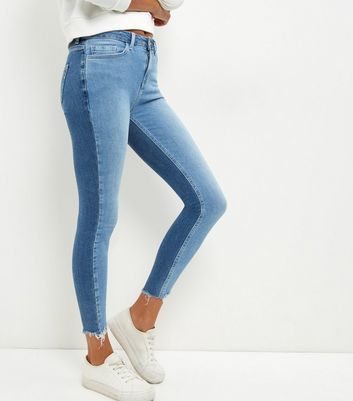 Pale Blue Two Tone Fray Hem Skinny Jeans - style: skinny leg; length: standard; pattern: plain; waist: high rise; pocket detail: traditional 5 pocket; predominant colour: denim; occasions: casual; fibres: cotton - stretch; texture group: denim; pattern type: fabric; wardrobe: basic; season: a/w 2016