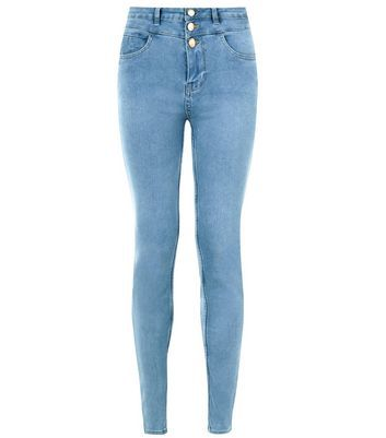 Pale Blue High Waist Super Skinny Jeans - style: skinny leg; length: standard; pattern: plain; waist: high rise; pocket detail: traditional 5 pocket; predominant colour: denim; occasions: casual; fibres: cotton - stretch; jeans detail: washed/faded; texture group: denim; pattern type: fabric; wardrobe: basic; season: a/w 2016