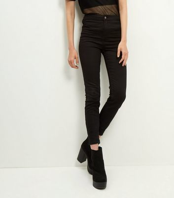Black High Waist Super Skinny Jeans - style: skinny leg; length: standard; pattern: plain; waist: high rise; pocket detail: traditional 5 pocket; predominant colour: black; occasions: casual, evening, creative work; fibres: cotton - stretch; texture group: denim; pattern type: fabric; wardrobe: basic; season: a/w 2016
