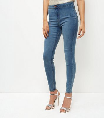 Blue Faded High Waist Super Skinny Jeans - style: skinny leg; length: standard; pattern: plain; waist: high rise; predominant colour: denim; occasions: casual, creative work; fibres: cotton - stretch; texture group: denim; pattern type: fabric; wardrobe: basic; season: a/w 2016