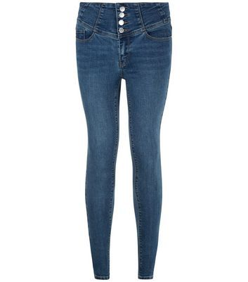 Blue High Waisted Skinny Jeans - style: skinny leg; pattern: plain; waist: high rise; predominant colour: denim; occasions: casual; length: ankle length; fibres: cotton - stretch; texture group: denim; pattern type: fabric; wardrobe: basic; season: a/w 2016