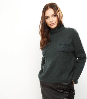 Dark Green Turtle Neck Jumper - neckline: high neck; style: standard; predominant colour: dark green; occasions: casual, creative work; length: standard; fibres: acrylic - mix; fit: loose; sleeve length: long sleeve; sleeve style: standard; texture group: knits/crochet; bust detail: bulky details at bust; pattern type: knitted - fine stitch; pattern size: light/subtle; pattern: marl; season: a/w 2016; wardrobe: highlight