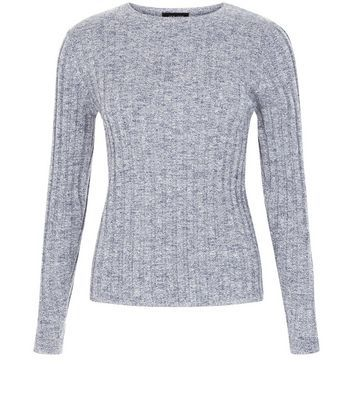 Blue Long Sleeve Wide Ribbed Top - style: t-shirt; predominant colour: mid grey; occasions: casual, creative work; length: standard; fibres: polyester/polyamide - stretch; fit: tight; neckline: crew; sleeve length: long sleeve; sleeve style: standard; texture group: knits/crochet; pattern type: knitted - other; pattern size: light/subtle; pattern: marl; wardrobe: basic; season: a/w 2016